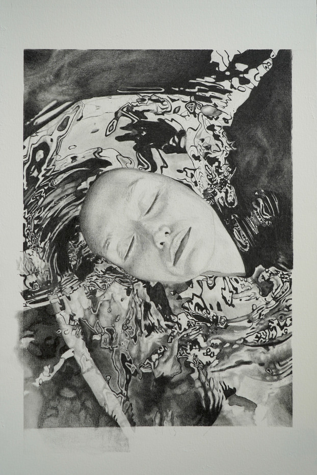 """""""Madonna in Water."""" Graphite on watercolor paper. 10x14 drawing on 12x18 paper."""