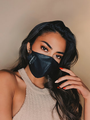Draco Face Mask - Black Faux Leather