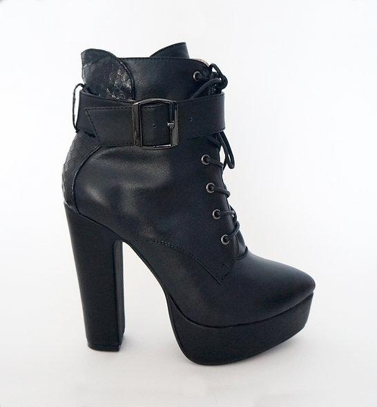 "Snakeskin Leather ""Valiance"" High-Heel Platform Combat Boots"
