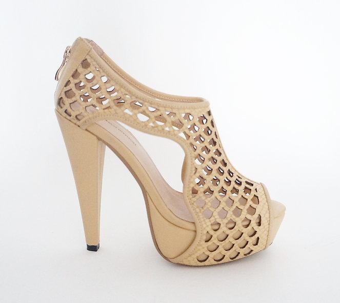"""Embossed Leather """"Vitality"""" Peep-Toe Platform Heels"""