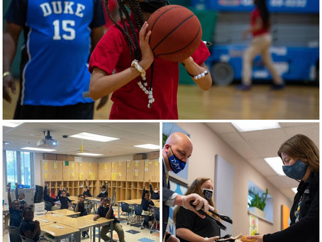 March Mania Winners Celebrate with basketball, donuts, no uniforms