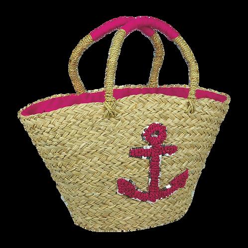 B803 | Hand Made Straw Bag With Applique