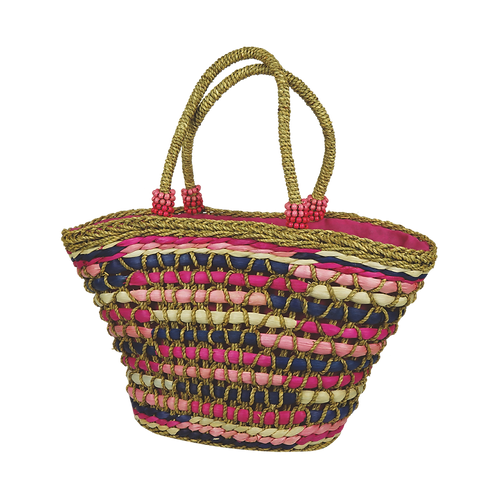 B800 | Hand Made Straw Bag With Applique