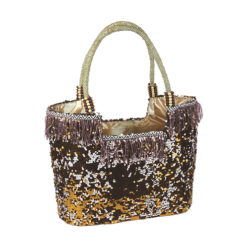 B807 | Hand Made Reversible Sequence Bag