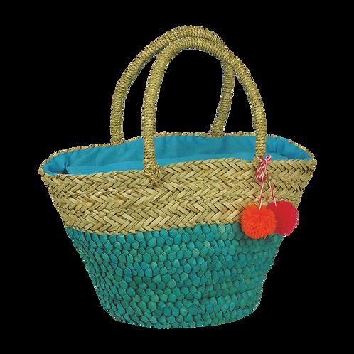 B801   Hand Made Straw Bag With Applique