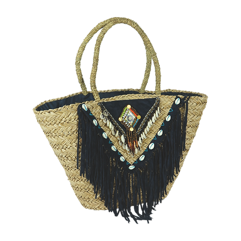 B813 | Hand Made Straw Bag With Applique