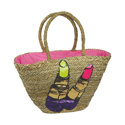 B818 | Hand Made Straw Bag With Applique