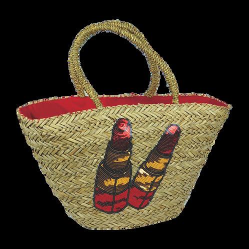 B817 | Hand Made Straw Bag With Applique