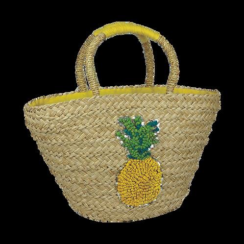 B804P   Hand Made Straw Bag With Applique