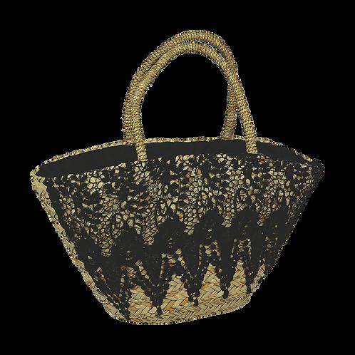 B814 | Hand Made Straw Bag With Applique