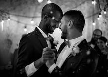 Gay wedding couple dancing