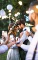 Bride and groom photo bomb