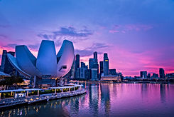 Panorama view of Singapore cityscape and