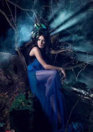 Синяя фотосессия ночью