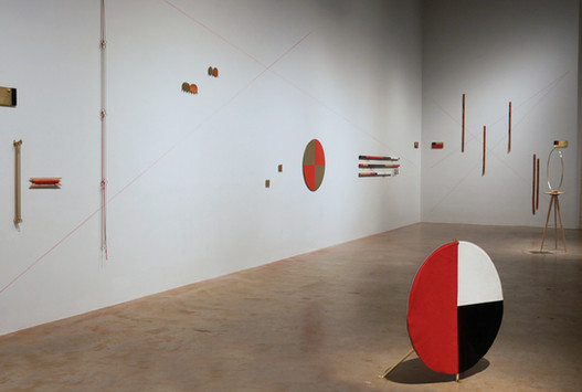 """LoSII 2018  DefinitionsofLoS  1 :  Alinefrom an observer's eye to a distant point.   2 :  Thelinebetween two points.  The modular systems of measurement for Line of Sight include boundaries of size and form for a place in the landscape (White Walls). Rules intentionally include traditional boundaries of the assigned gallery wall using designed LoS technical instruments constructed of materials including C360 H02 Brass, .025"""" CA260 Brass Sheeting, Vegetable Tanned Leather Belting and Natural Twisted Cotton Cording.   This work explores utilizing made-up systems of measurement. Rules for Crafting the instruments and their site installation are integral to the spanned boundaries of the white 1:3 gallery walls.  The designed measuring tools are informed by instruments of surveyors from 1620 A.D. to Modern Day."""