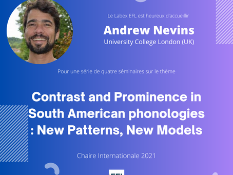 """International Chair 2021 : Andrew Nevins - """"Contrast and Prominence in South American phonologies"""""""