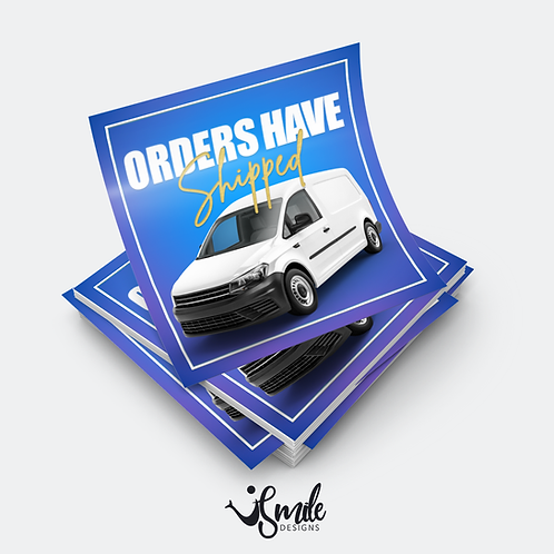 Instagram order shipped blue template