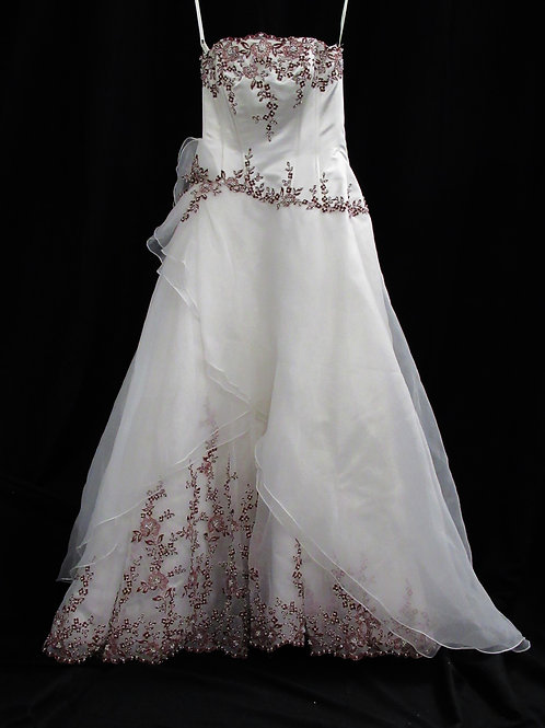 Red and White Bridal Gown (#1057-1)