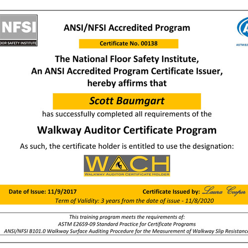 ANSI NFSI National FLoor Safety Institute WACH Walkway Auditor Certificate  Holder