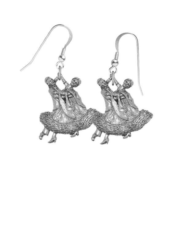Silver hook earrings with ballroom dance couple figures