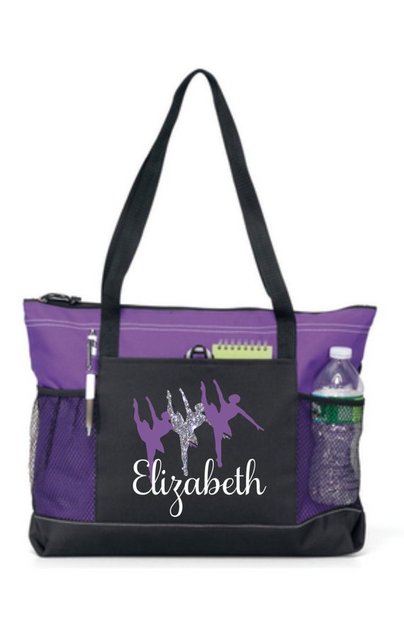 Black and purple tote bag with Personalised name and ballet dancer image
