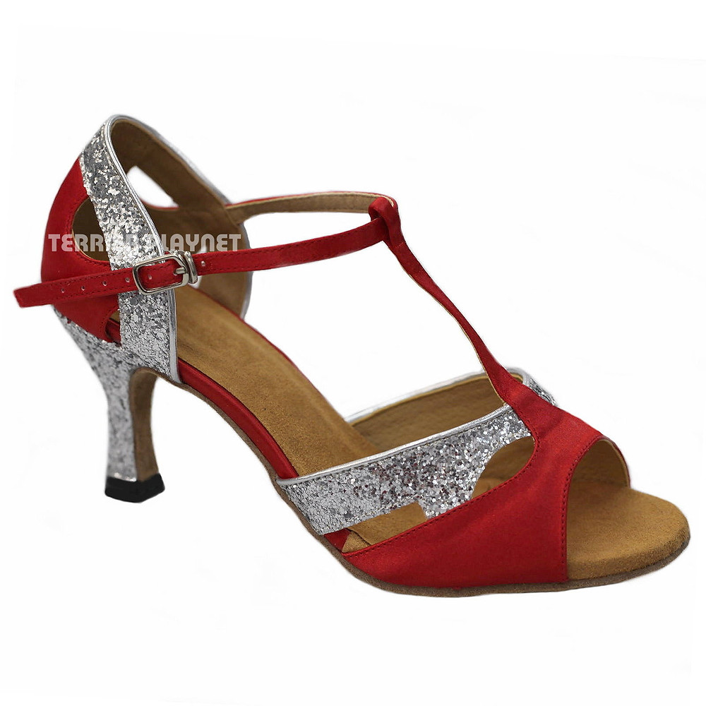 Ladies Red Latin Dance Shoe with T Bar Strap