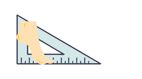 Protractor and image of a foot standing on tip toe to domonstrate a right angled triangle principle