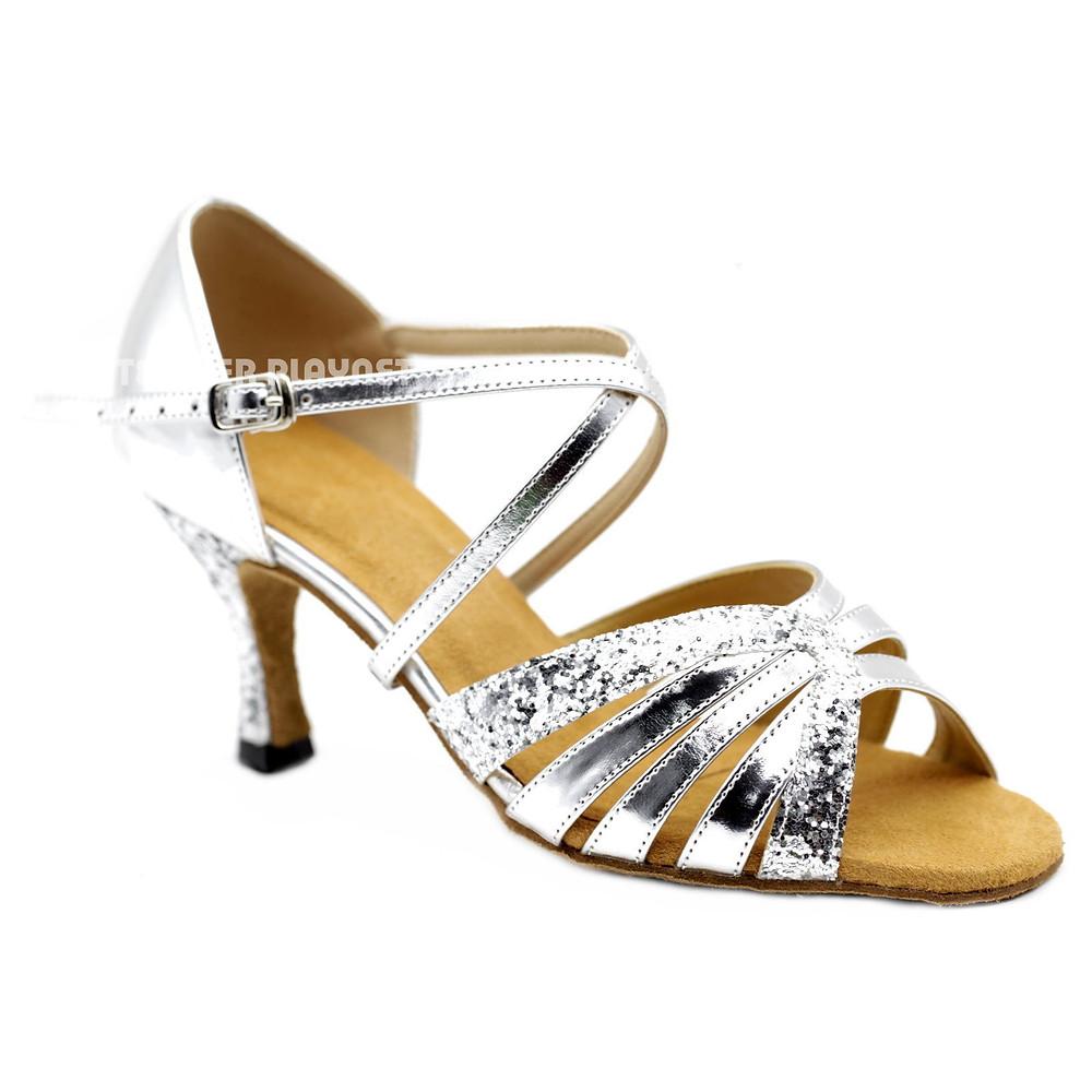 Silver Ladies Latin Dance shoe from Terrier Playnet Shop
