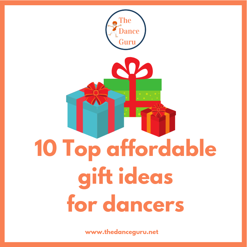 3 colourful presents with the caption '10 Top affordable gift ideas for dancers'