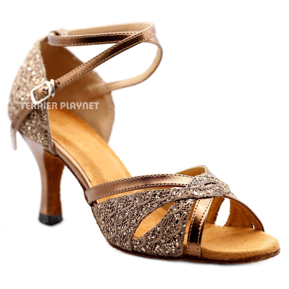 Ladies Gold Latin Dance Shoe with Crossed Ankle Strap