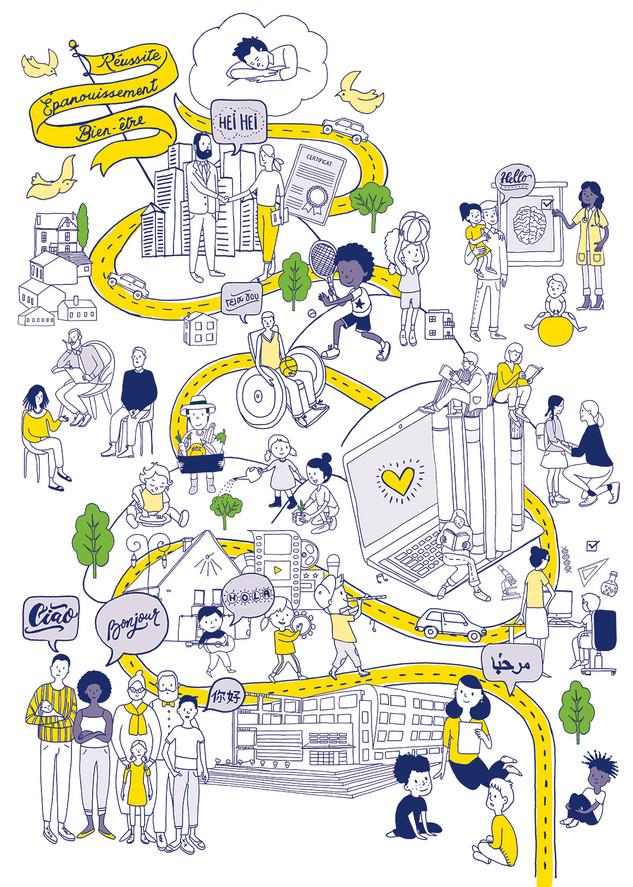 Illustration pour une affiche de la ville de Trappes. En collaboration avec Epicéum.