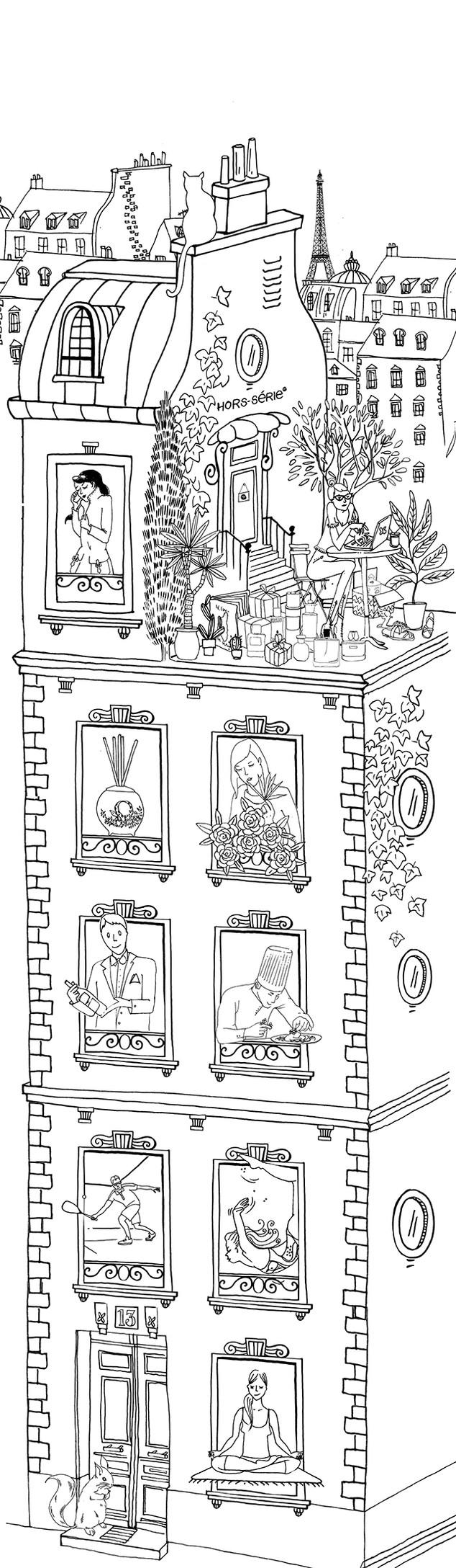 Illustration pour une carte de vœux pour l'agence de relation presse Hors Série.