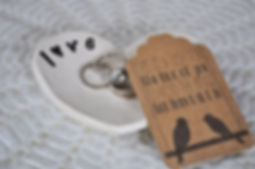 Wedding Ring Dish Set Love Heart Handbuilt Pottery Ceramic Wedding Gift Unique