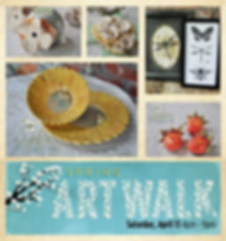 Hattiesburg Mississippi Downtown Association Spring Art Walk. Handbuilt Pottery Ceramics, Houseware, Dinnerware, Dishware, Strawberries, Magnets, Photo frames, candle holders, dogwood, cross, bumble bee, sunflower, dragonfly, pen and ink, sketch, butterfly