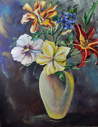 DAY-LILY DEVOTIONAL - org acrylic on canvas