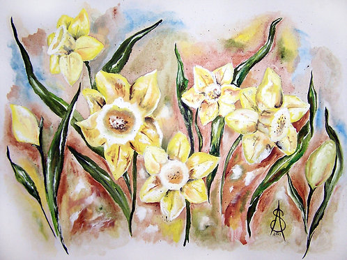 DAFFODIL DRAMA - org acrylic on canvas