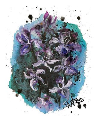 SIMPLY IRIS.ISTABLE - org oil pastel framed