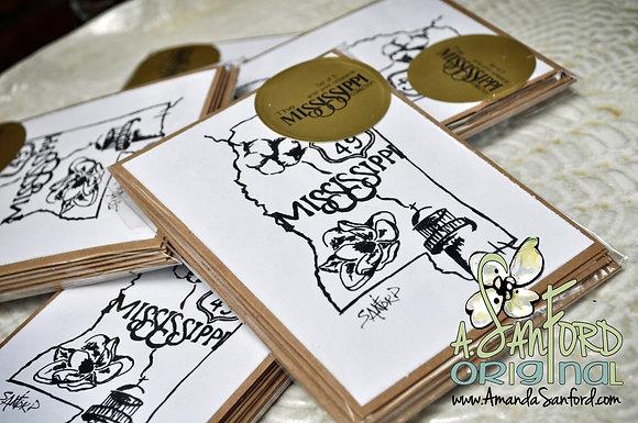 MISSISSIPPI - set of 5 deluxe art notecard set
