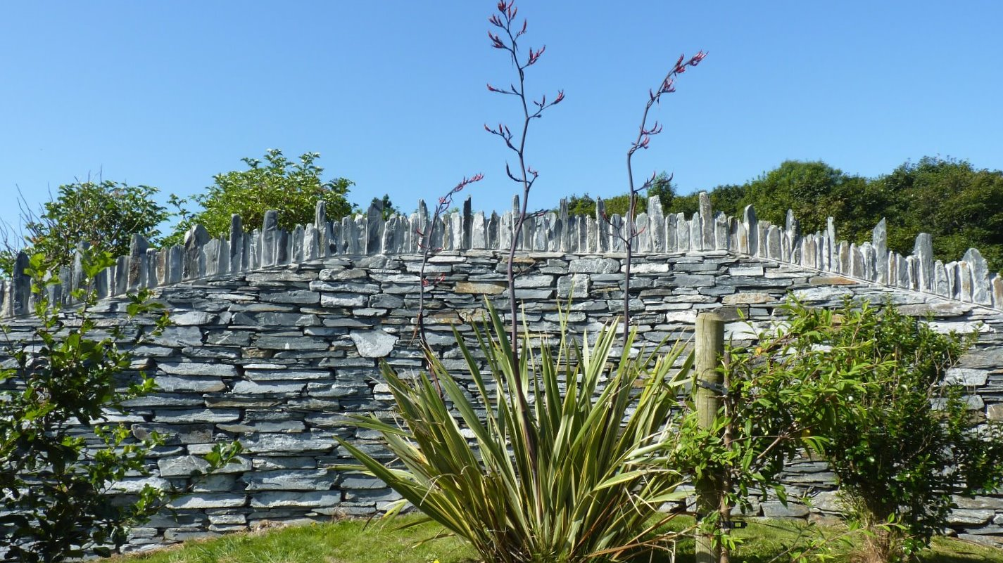 Curved dry stone wall