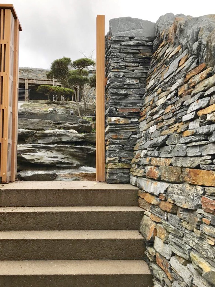 Dry stone wall & giant boulder steps