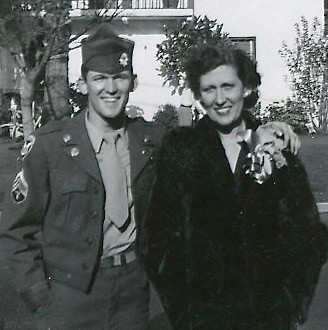 My dad and his mother, 1946