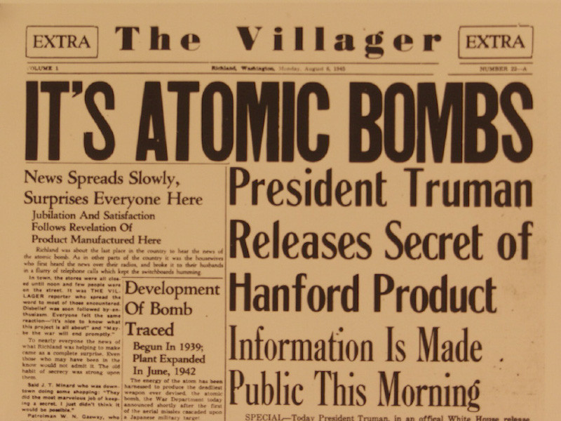 Front page of the local Richland, Washington, paper, on August 6, 1945
