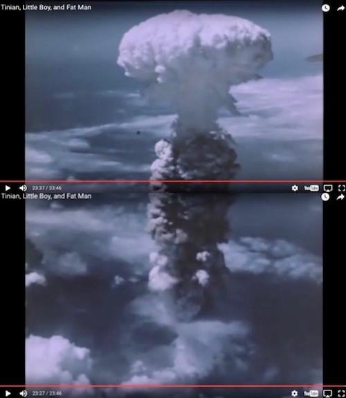 Mushroom cloud above Nagasaki (capture from footage, Atomic Heritage Foundation)