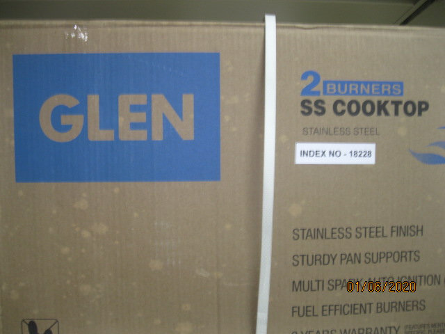 GLEN DOUBLE BURNER S/STEEL COOK TOP GL 1023 WITH BRASS BURNER (ISI Mark)