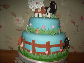 Horses in Field Birthday Cake
