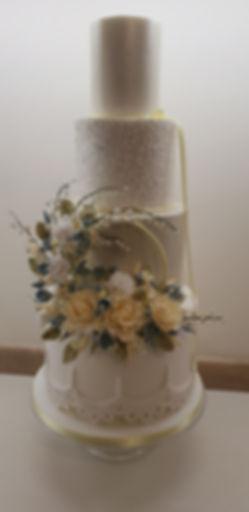 wedding cake with sugarpaste flowers