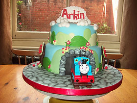 Train Through Tunnel  Birthday Cake