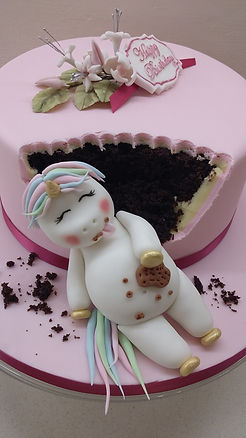 Fat Unicorn Birthday Cake