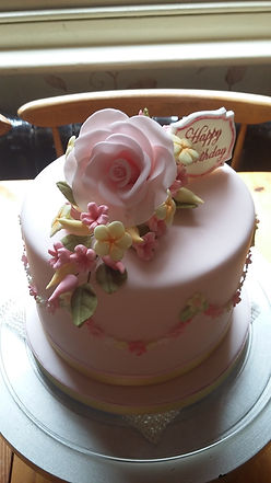 Sugarpaste Flowers on Ladies Birthday Cake