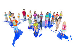 Group of Children on World Map